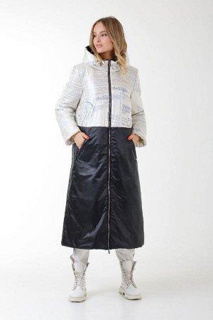 Женское пальто с капюшоном синий принт