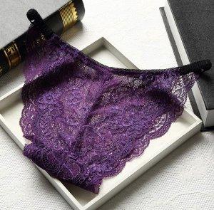 Женские кружевные трусы, цвет фиолетовый