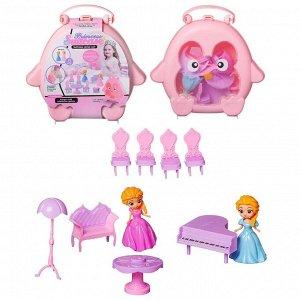 """Игровой набор Junfa """"Розовый совенок"""" Чемоданчик с 2 куколками и мебелью, 20,5х5х21см383"""