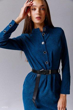 Синее вельветовое платье
