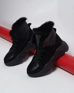 Ботиночки GLORIA черная замша+черная кожа с черным мехом