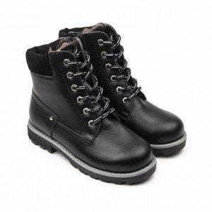 Ботинки детские мех 23014 кожа, СТОКГОЛЬМ черный