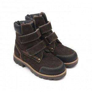 Ботинки детские мех 23013 кожа, КАИР коричневый