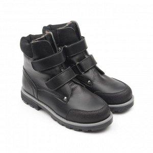 Ботинки детские мех 23013 кожа, СТОКГОЛЬМ черный