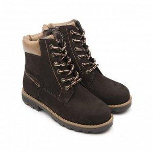 Ботинки детские мех 23014 кожа, КАИР коричневый