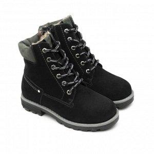 Ботинки детские мех 23014 кожа, МИЛАН черный