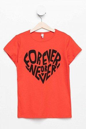 """Красная футболка для девочки """"Всегда или никогда"""""""