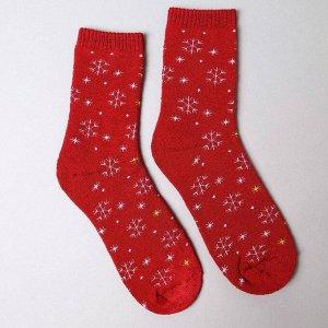 Носки женские махровые «Снежинки», цвет бордовый, размер 23-25