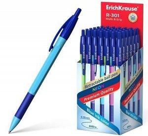 Ручка автоматическая шариковая 0.7мм 46769 R-301 Neon Matic.Grip синяя Erich Krause {Китай} розовый корп.