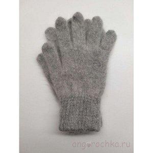 Пуховые серые женские перчатки - 403.3