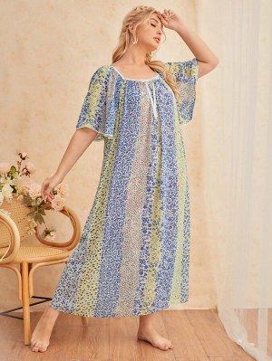 Платье размера плюс для сна с цветочным принтом