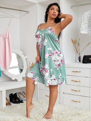 Платье размера плюс с цветочным принтом и маска для глаз