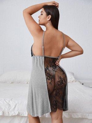 Платье размера плюс с кружевной отделкой