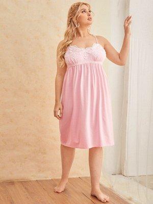 Платье размера плюс для сна с кружевной отделкой