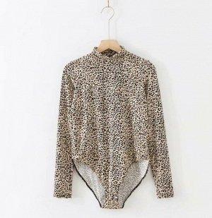 """Женское боди, принт """"Леопард"""", цвет коричневый/бежевый/черный"""