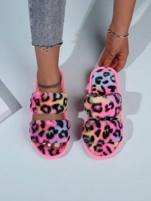Тапочки Цвет: Многоцветный Стиль: Стильный Принт: Леопард Тип: Тапочки для спальни Носок: С открытым носком Размеры: на один размер меньше Подкладочные материалы: Искусственный мех Материал подошвы: Р