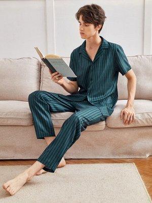 Мужской Пижама в полоску с лацканами