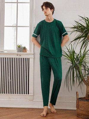 Мужская футболка с контрастной отделкой и брюки