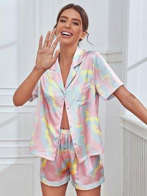 С принтом тай-дай на пуговицах Блуза & Короткий Набор