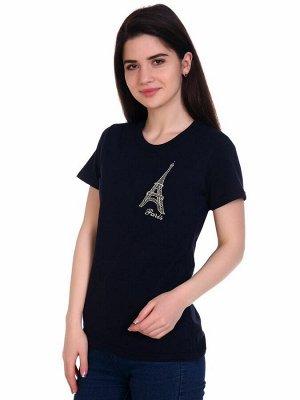 Футболка женская, с вышивкой, модель 157, трикотаж (Эйфелева башня, синий )