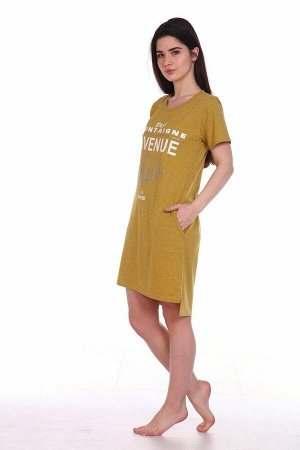 Туника женская, модель 135, трикотаж-меланж (Авеню Монтень, горчица)