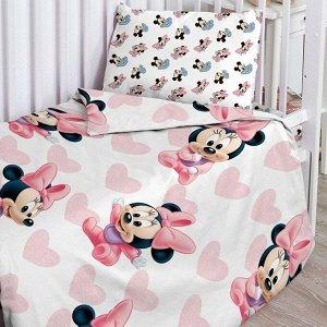 """КПБ детск. поплин """"Disney Baby"""" (40х60) рис. 16473-1/16474-1 Минни Маус"""