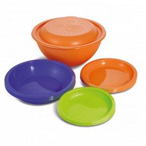 Набор посуды 13 предметов, пластик, колор, ДАЧНЫЙ