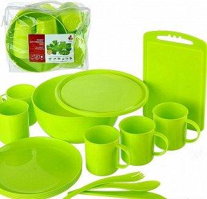 Набор для пикника на 6 персон, 32 предмета, пластик, лайм, ПИР