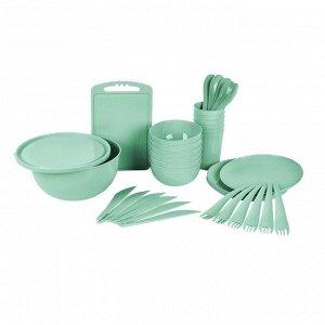 Набор для пикника на 6 персон, 38 предметов, пластик, мята, ПИР
