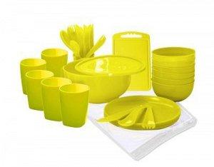 Набор для пикника на 6 персон, 38 предметов, пластик, лимон, ПИР