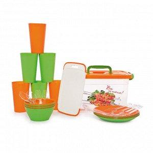 Набор для пикника на 6 персон, 32 предмета, пластик, колор, ВСЕ НА ПИКНИК