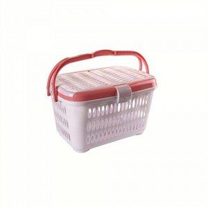 Корзина для пикника, 23 л, пластик, бело - розовый