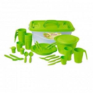 Набор для пикника на 4 персоны, 30 предметов, пластик, колор, ЧЕЗАРЕ