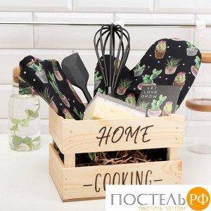 Набор подарочный Home cooking: полотенце, варежка-прихватка, кухонная лопатка, венчик, губка