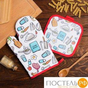 Кухонный набор Доляна Cook book, прихватка 17*17 см, рукавица 26*16 см,100% п/э