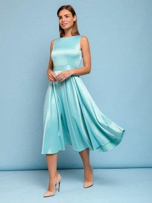 Платье мятного цвета длины миди в стиле ретро