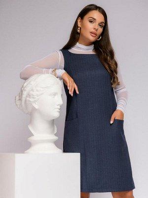 Платье темно-синее длины мини свободного силуэта без рукавов