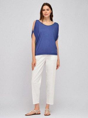 Блуза синяя с разрезами на рукавах