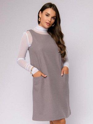 Платье серо-бежевое длины мини свободного силуэта без рукавов