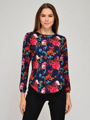 Блуза синяя с принтом и длинными рукавами