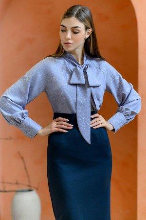 Блуза серая в горошек с бантом и длинными рукавами