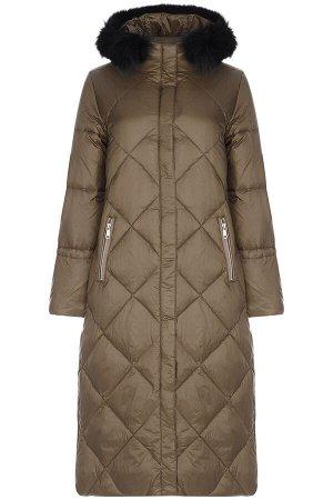 Женское текстильное пальто на натуральном пуху с отделкой мехом песца
