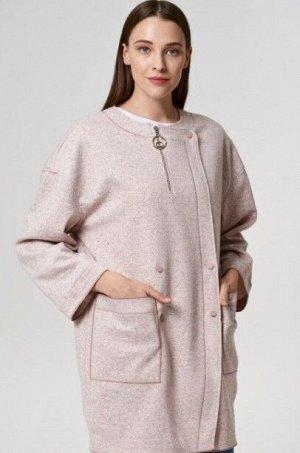 Женское пальто трикотажное с отделкой из текстильных материалов