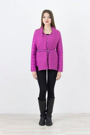 Женская текстильня куртка на изософте с отделкой трикотажем И РЕМНЕМ ИЗ ЭКОКОЖИ