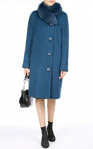 Женское пальто текстильное на ватине с отделкой мехом песца