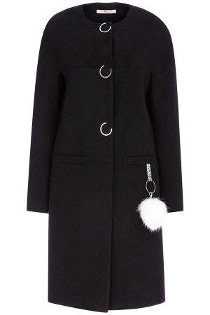 Женское пальто текстильное с отделкой мехом песца