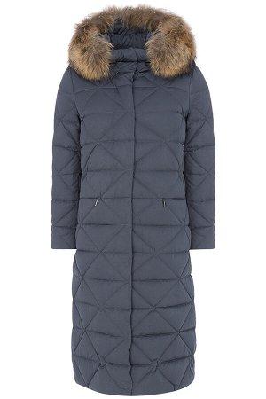 Женское пальто текстильное на натуральном пуху с отделкой мехом енота