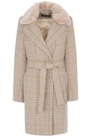 Женское пальто текстильное на синтепоне с текстильным поясом с отделкой мехом кролика