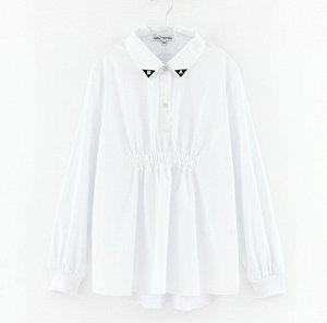 Блузка дд белый ,св. голубой. Осн.ткань: поплин 98% хлопок 2% эластан отделка: кулирная гладь 95% хлопок 5% эластан