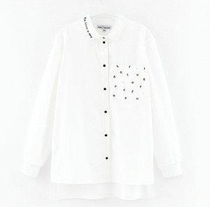 Блузка дд белый, св. голубой Осн.ткань: поплин 98% хлопок 2% эластан
